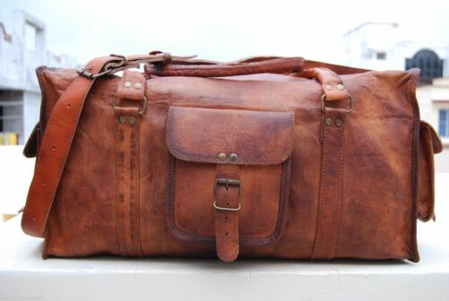 "25/"" Men/'s genuine Leather luggage gym weekend overnight duffle bag large vintage"