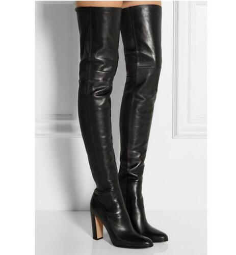 zapatos para cuero de mujer tacón rodilla sobre la de Tire tacón de y Elegantes Muslo caballero de X alto Botas I7dXA