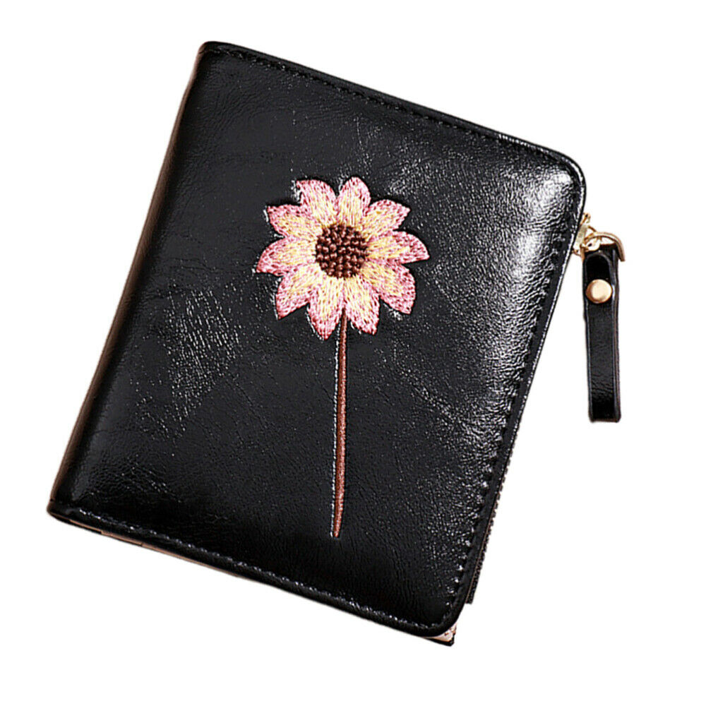 1pc Coin Purse Leather Flower Pattern Vintage Wallet Pocket for Girls
