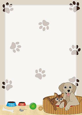 Motivpapier Briefpapier Hund Katze 50 Blatt DIN A4 Tiere Kätzchen Hunde Katzen