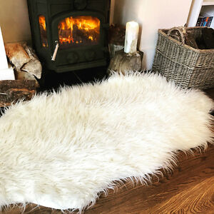 Details About Cream White Fluffy Plain Bedroom Faux Fur Fake Non Slip Cozy Sheepskin Rug