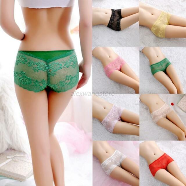 Women Underwear Floral Lace Panty Brief Girl Smooth Boxer Shorts Knickers Thongs