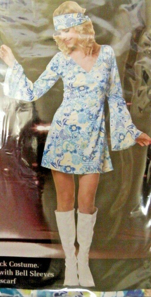Courageux Nouveau Groovy Chick Dress Up Années 60 Rétro Déguisement 2 Pce Femmes Sz 6 - 16 Limpide à Vue