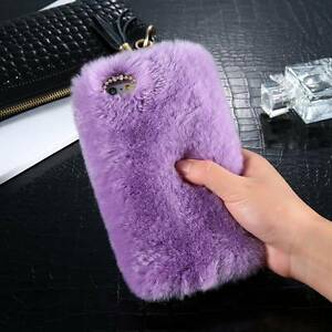 reputable site 215ca b871e Details about Luxury Warm Soft Furry Rabbit Fur Case Cover Holder for  iPhone Samsung Phones