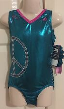 *NEW* GK Adidas gymnastics leotard CL child large Shawn peace gems + scrunchie