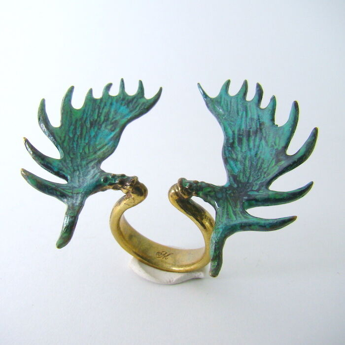 Moose horn ring in brass with hand painting patina color