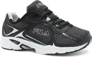 0e3ca88ec1f5 Image is loading Boys-Lace-Sneakers-FILA-Black-Silver-NEW-Youth-