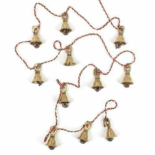 Decorative String of 11 Brass Vintage Indian Style Wall Hanging Bells Decoration