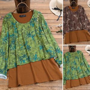 Elegant-Femme-Shirt-Haut-Col-Rond-Manche-Longue-Imprime-Floral-Deux-Piece-Plus