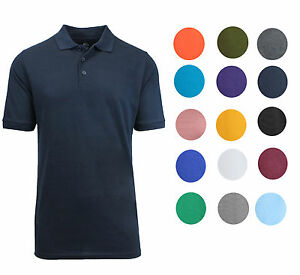 Galaxy by Harvic Mens Cotton Blend Collar 3 Button Pique Sport Polo Golf Shirt