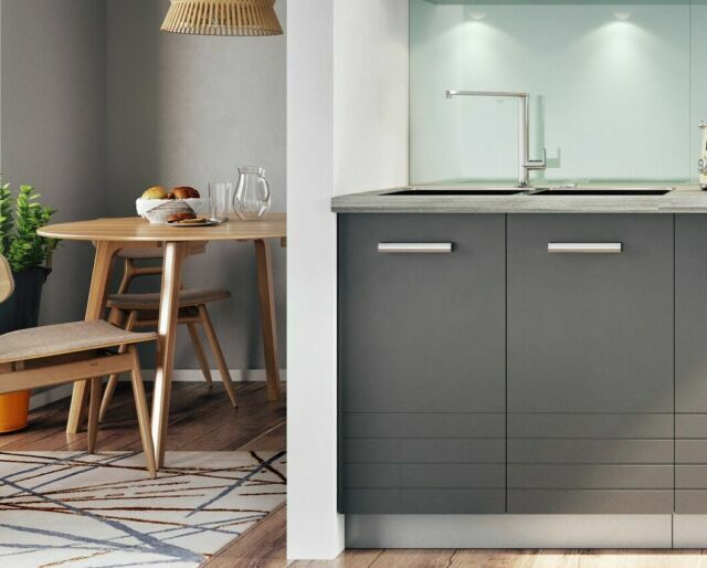 Grey Kitchen Set 120cm 1 2m Sink Cabinet 3 Drawer Base Unit Mat Cupboard Paula For Sale Online Ebay