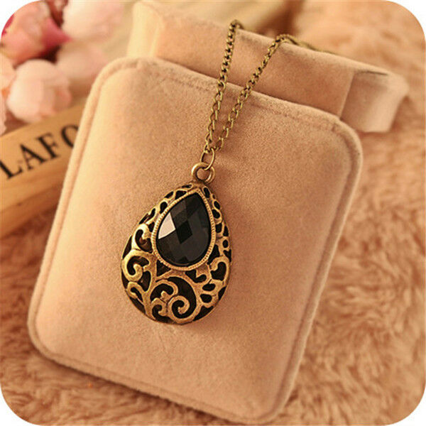 Charm Long Gold Chain Bib Statement Black Crystal Collar Choker Pendant Necklace