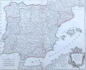 Cartina Spagna Antica.Antica Mappa Spagna Portogallo De Vaugondy 1757 Ebay