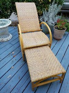 Vintage Adjustable Rattan Wicker Lounge Chair W Built In