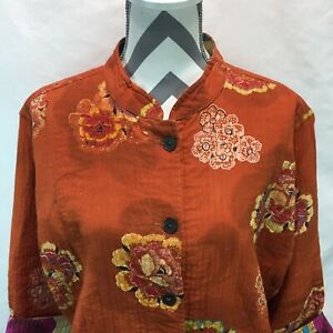 Chico's Floral Orange Multicolor Long Sleeve Jacket Women's Size 3 FF17