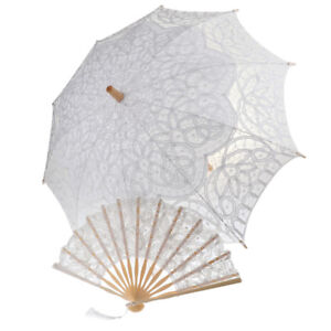 Handmade-Lace-Bamboo-Hand-Fan-With-Vintage-Umbrella-Set-Photo-Props-White