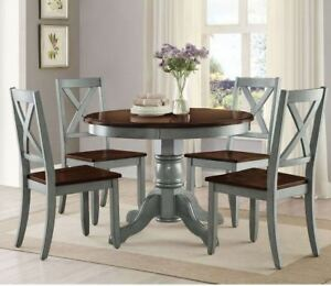 Astounding Details About Farmhouse Dining Table Set Rustic Round Dining Room 5 Piece Kitchen Chairs Blue Home Remodeling Inspirations Cosmcuboardxyz