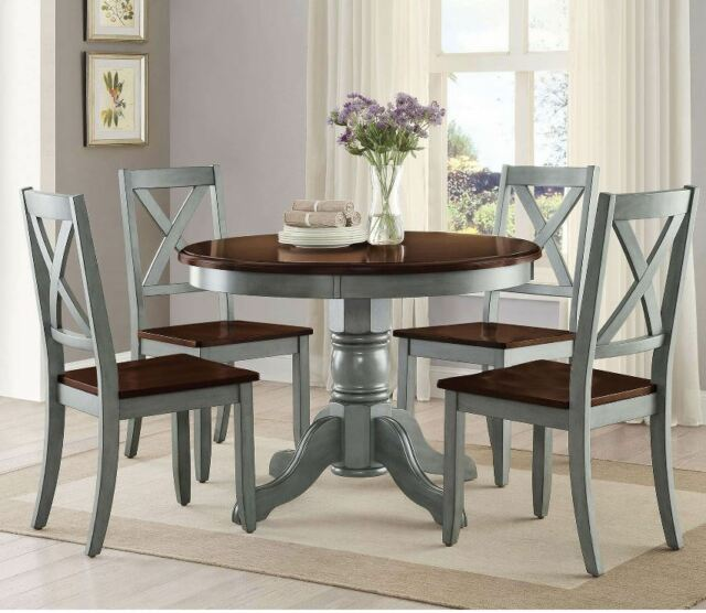 Farmhouse Dining Table Set Rustic Round Dining Room 5 Piece Kitchen Chairs  Blue