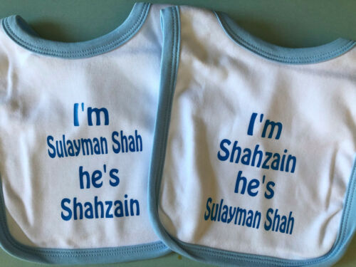 PERSONALISED BIBS FOR TWINS GIRLS//BOYS AVAILABLE IN PINK//BLUE NEWBORN BABY GIFT