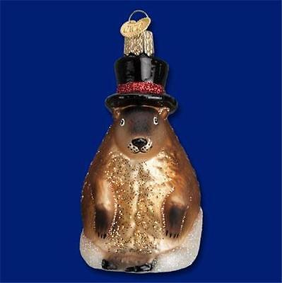 GROUNDHOG DAY OLD WORLD CHRISTMAS GLASS PUNXATAWNEY PHIL ORNAMENT NWT 12412