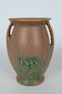 "Early Vintage Brown/Green Glazed Unmarked McCoy Pottery Stoneware Vase - 6"" Tall"