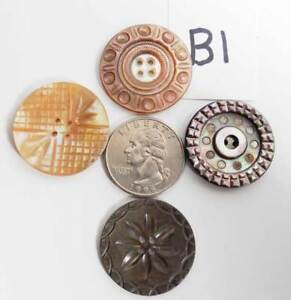 4-ANTIQUE-CARVED-ABALONE-mother-of-pearl-MOP-BUTTONS-B1