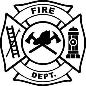 Image is loading WHITE-Vinyl-Decal-Fire-Department-maltese-cross-firefighter -