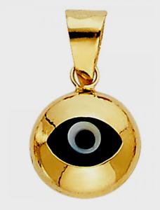 Evil eye 14K gold Yellow Charm Pendant