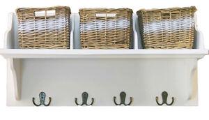 Wooden-Storage-Shelf-With-3-Wicker-Baskets-amp-Coat-Hooks-Hanger-Wall-Unit-White