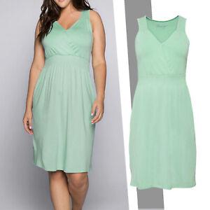 wunderschönes Sommerkleid mint Shirtkleid Gr.56/58 Kleid Stretch Wickeloptik