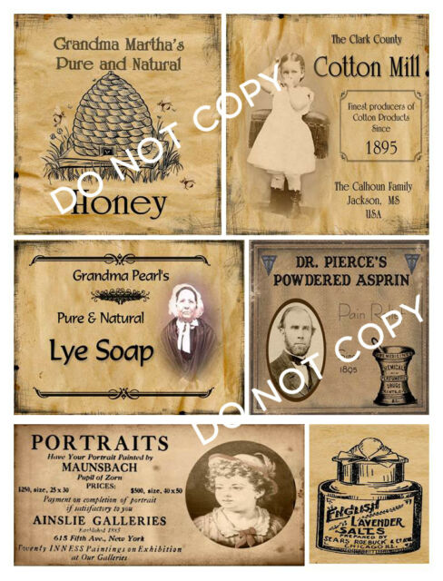 Primitive Farmhouse Pantry Jar Labels Set Sheet #93