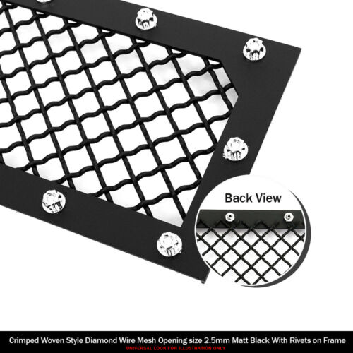 Fits 2018-2019 Ford F-150 W//O Front Camera Main Upper Black Mesh Grille
