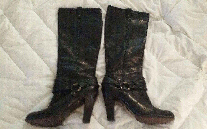 Frye Vicki Alto botas arnés de cuero negro con cremallera Trenza occidental para mujer 10M