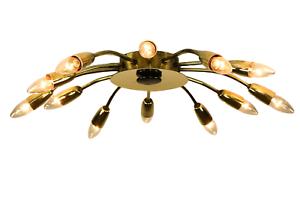 Decken-Lampe-12flammig-65-Sputnik-Spider-Leuchte-in-Messing-50er-Jahre