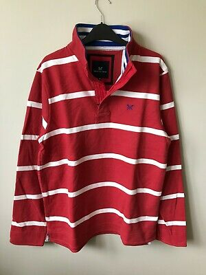 New Mens Crew Clothing Sweatshirt Pique cotton Red Stripe S XXXL Half Zip