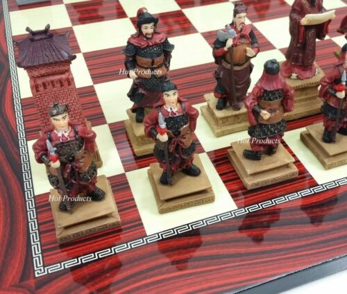 "LARGE ORIENTAL THREE KINGDOMS Chess Set W// 17/"" CHERRY COLOR BOARD"