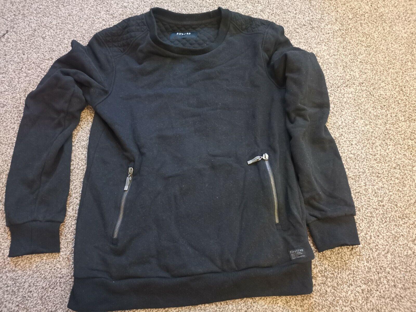 Firetrap Black Mens Top With Zip Details Size S