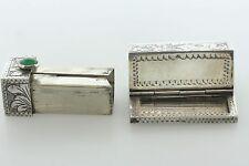 Antique 800 Silver Hand Engraved Lipstick Holder & Mirror Case Holder With Jade