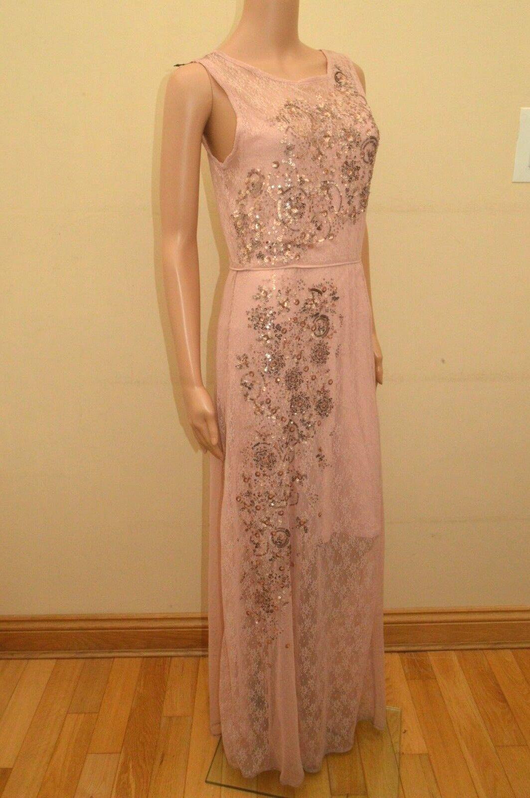 New Next Pale bluesh Pink Sequin Mesh Lace Maxi Dress Sz