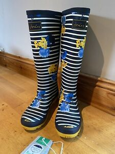 Joules-Size-5-yellow-blue-Flower-Adjusta-Wellies-2236