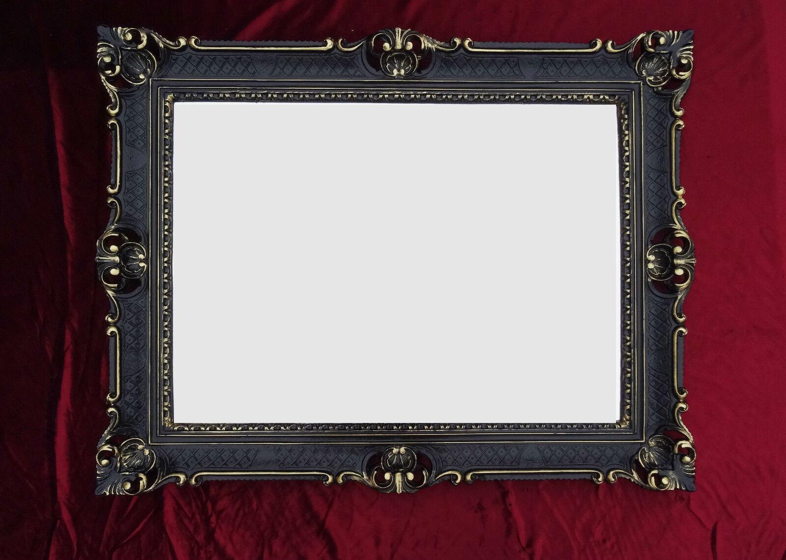 Wandspiegel schwarz gold antik barock rokoko 90x70 for Couchtisch 90x70