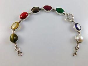 100-Genuine-925-Sterling-Silver-Solid-MultiColor-Stone-Handmade-Silver-Bracelet