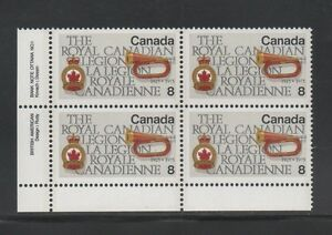 CANADA 1975 LL Plate Block Stamp #680 8¢ ROYAL CANADIAN LEGION Bugle MNH