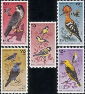 Palestinian-Authority-1997-Hoopoe-Falcon-Oriole-Birds-StampEx-5v-set-b2462a