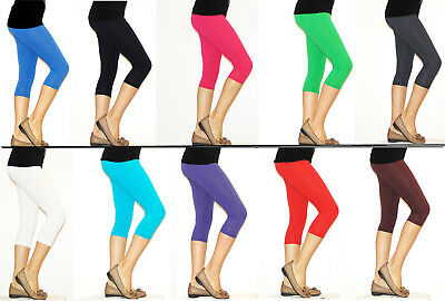 Fashion Style Bambini Ragazze Pantaloni Capri Leggings Leggins 3/4 Ginocchio Cotone Opaco Lucentezza Luminosa