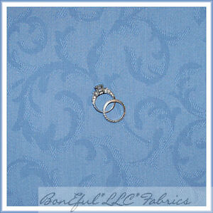 BonEful-Fabric-FQ-Decorator-Home-54-Decor-Damask-Country-Blue-Swirl-Scroll-Leaf