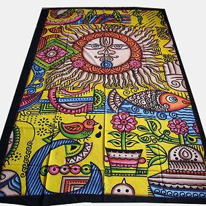 Couvre-lit-Psychedelique-Tapisserie-Decoration-murale-tissu-deco-Inde-Goa