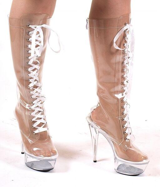 Damenstiefel Plateau kniehoch neu Stiefel Schuhe High-Heels GoGo Stiefel Clubwear