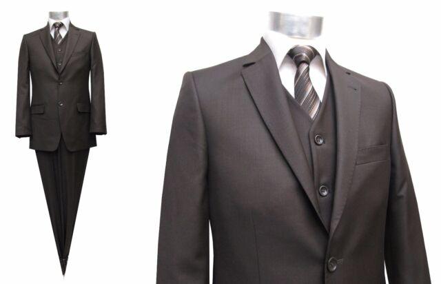 Elegante Herrenanzug 3 teilig Gr.72 Übergröße Braun | eBay