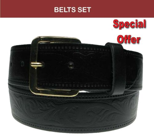 Set 2 Pcs Embossed Belts 40mm Handmade Extra Strong Gold Buckle Leather Belt